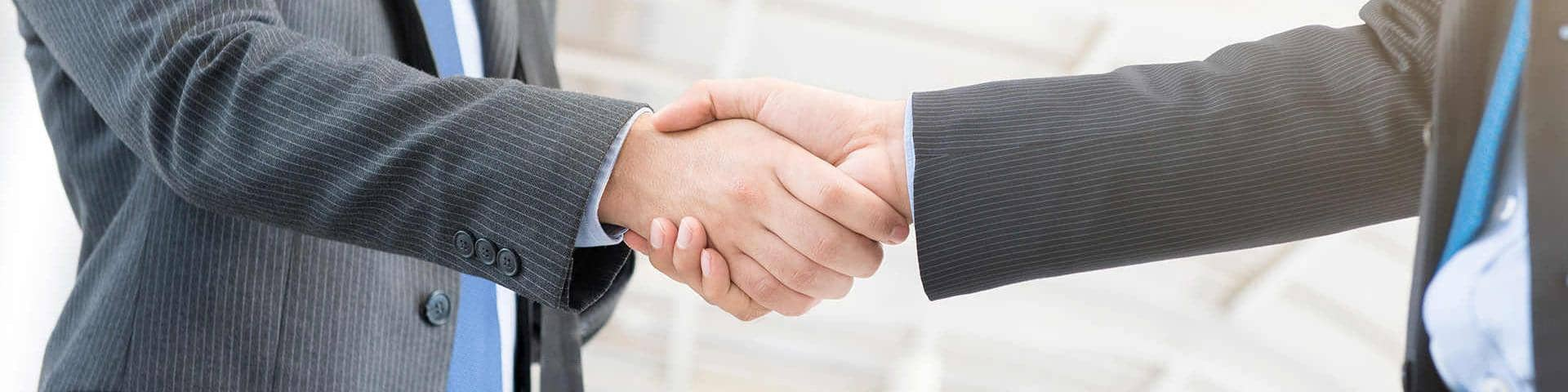 Businessmen shaking hands compliance